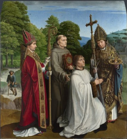 Gerard David: Bernardijn Salviati y tres santos, ca. 1501. National Gallery, Londres.