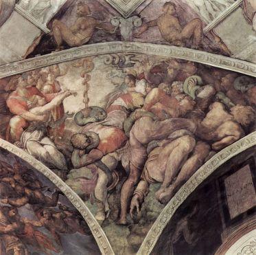 Miguel Ángel: La Serpiente de Bronce. Roma, Capilla Sixitina.