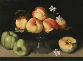 Fede Galizia. Bodegón de bandeja de cristal con melocontones, manzanas y flores. Foto: wikicommons