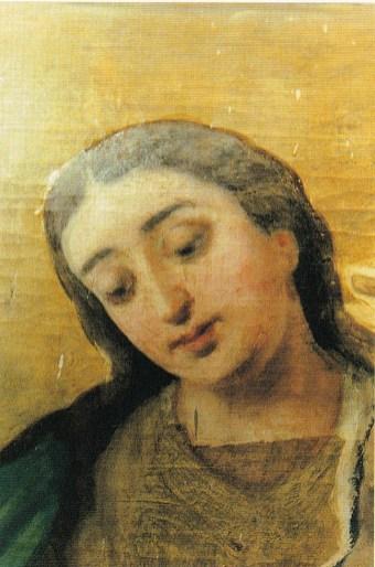 Proceso de limpieza del rostro de la Virgen. Estado Inicial.