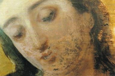 Proceso de limpieza del rostro de la Virgen. Comienzo de la limpieza.