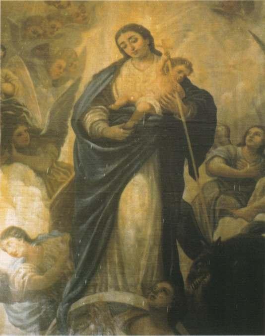 Comparativa- La figura de la Virgen antes de levantar el repinte.