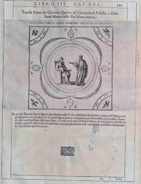 Dibujo del techo del cúbico de las Catacumbas de Priscila en el Roma Soterrata de Bosio.