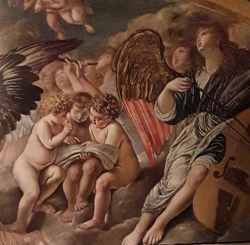 Juan Bautista Maíno. Soto coro del convento de San Pedro Mártir en Toledo. Detalle de ángeles siguiendo modelo de Reni.