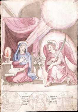 Francisco de Holanda: Anunciación. De Aetatibus Mundi Imagines. Madrid. BNE.