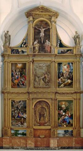 Reconstrucción virtual del Retablo de las Cuatro Pascuas de San Pedro Mártir en Toledo con las obras del Museo del Prado. Foto: Museo del Prado
