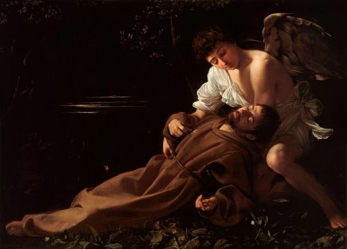 Caravaggio. San Francisco reconfortado por el ángel. 1595. Wadsworth Atheneum, Hartford, Connecticut. EE.UU.