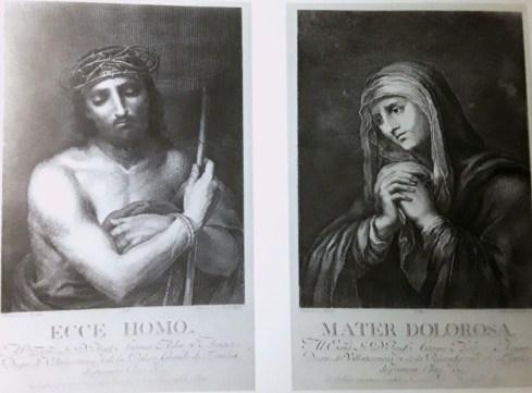 Estampa de los Ecce Homo y Dolorosa de la colección Villanueva pintados por Murillo.