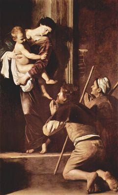 Caravaggio. Virgen de los peregrinos. Capilla Cavalletti. San Agustín. Roma. foto: wikipedia.