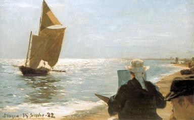P.S. Krøyer: El artista en la playa, 1882. Foto: Wikiart.