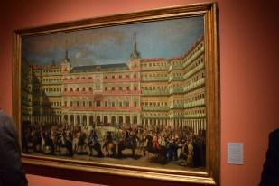Lorenzo Quirós (1717-1789), atribuido: Ornato de la Plaza Mayor, con motivo de la proclamación en Madrid de Carlos III, el 11 de septiembre de 1759. Óleo sobre lienzo. Museo de Historia de Madrid.