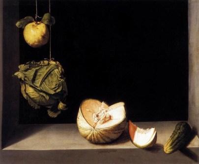Juan Sánchez Cotán: 2. Bodegón con membrillo, repollo, melón y pepino