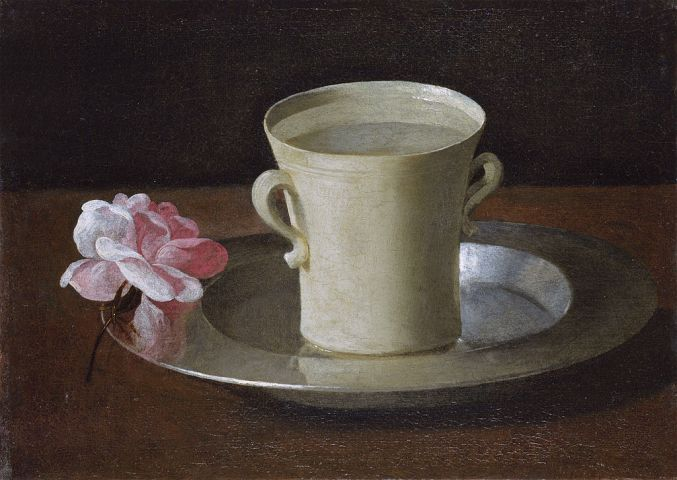 Francisco de Zurbarán: Vaso de agua y rosa