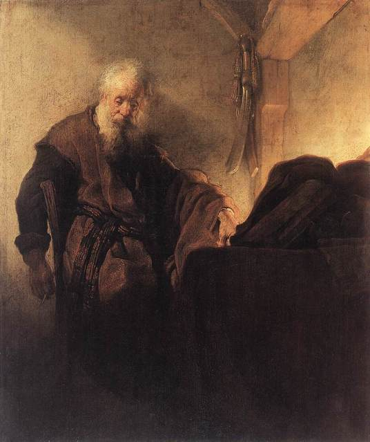 Rembrandt: San Pablo meditando. Germanisches Nationalmuseum, Nueremberg (Gm 392).