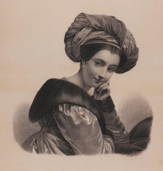 Petronila González de Menchaca y San Martín: Estudio para retrato femenino de perfíl, ca. 1830. Carboncillo y papel, 485 x 401 mm. Madrid, Real Academia de Bellas Artes de San Fernando.
