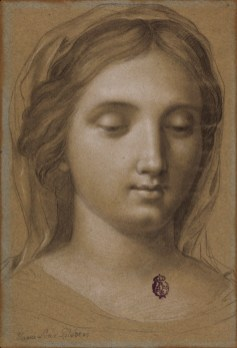 María Lucía Gilabert y Redondo: Estudio de cabeza con la Virgen, Siglo XVIII, 256x176mm. Madrid, Real Academia de Bellas Artes de San Fernando.