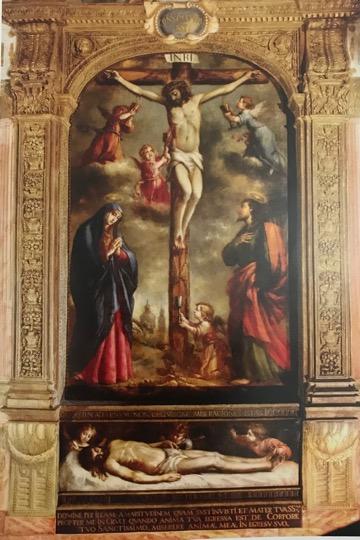 Vista del retablo fingido con el Calvario de Cristo. Foto: Tena de Bethercourt, 2010.