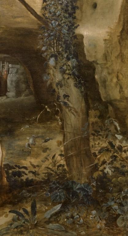 Velázques. San Pablo ermitaño y San Antonio Abad (detalle). Museo del Prado. Se aprecia la presencia de malvas en la base del tronco del árbol.