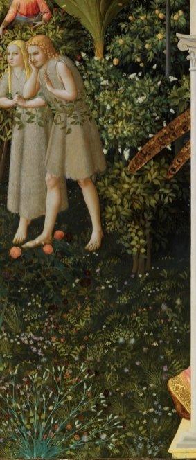Fra Angelico. Anunciación (detalle). Museo del Prado. Junto a las alas del ángel se puede ver una higuera, entre otras especies.