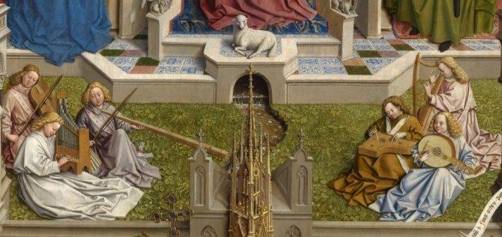 Jan van Eyck (taller). La fuente de la Gracia (detalle). Museo del Prado.