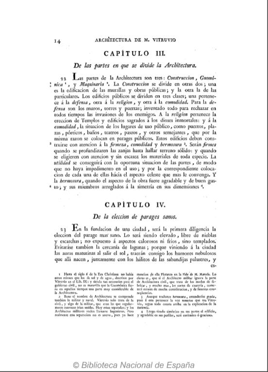De la elección de parajes sanos (capítulo IV del libro I de Vitruvio) en la edición española de J.Ortiz y Sanz, Madrid, 1787, BNE