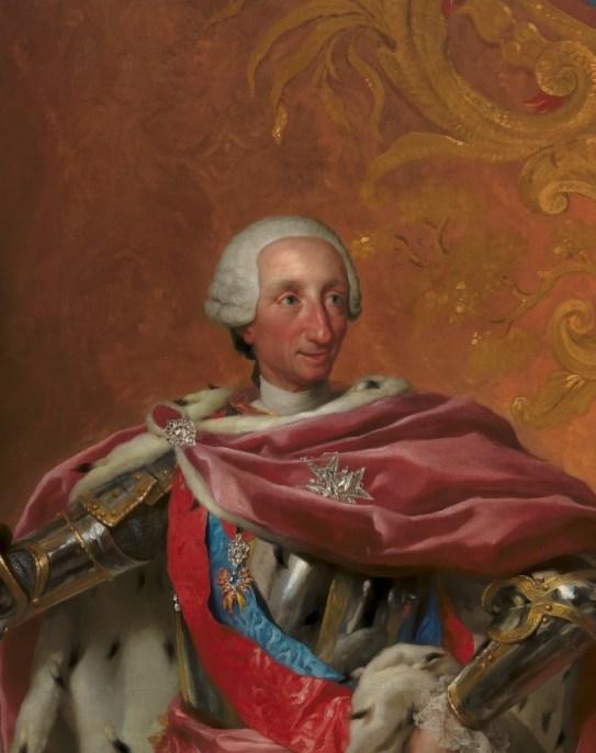 Antonio Rafael Mengs, Carlos III, rey de España y de las Indias (detalle), 1765, Copenhague, Statens Museum for Kunst.