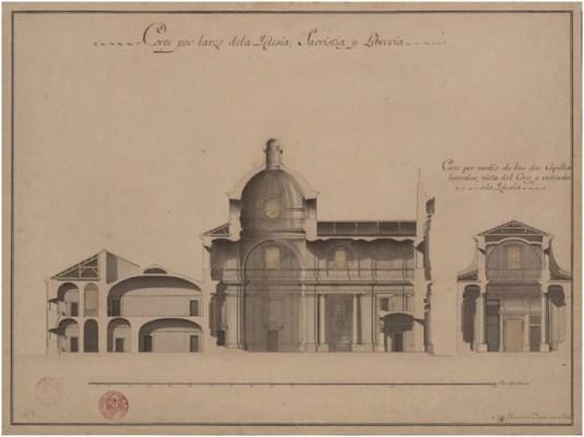 Marcelo Fontón, Secciones de la iglesia y convento de San Pascual en Aranjuez, Roma, Archivio Storico dell'Accademia di San Luca.