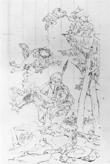 Copia atribuida a Domenico Tiepolo, dibujo a pluma, Vevey (Suiza), Musée Jenisch.