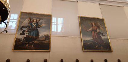 Coro del convento de la Encarnación con los lienzos de Bartolomé Román con Seatiel y Uriel. foto: @cipripedia.
