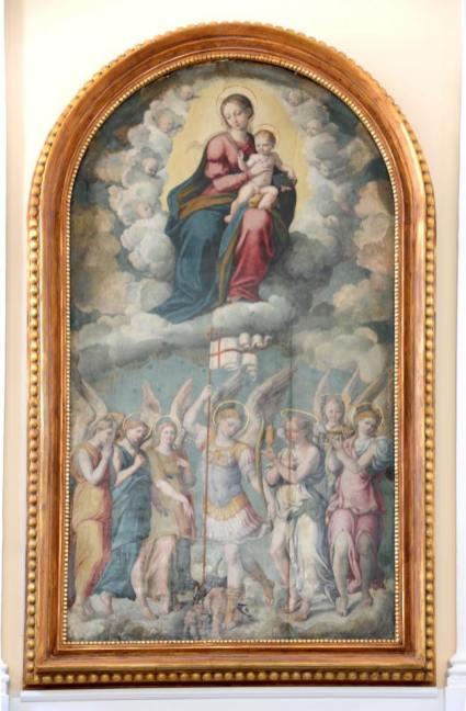 Giovanni Filippo Criscuolo. Virgen con el niño, San Miguel y la corte de ángeles. s. XVI. Catedral de Gaeta. Italia. Foto: Wikipedia.