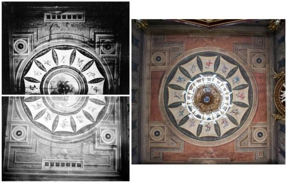 Techo del despacho de Godoy: en fotografías de Vicente Moreno en su emplazamiento original y en color adaptado en el CGA. Fuentes: IPCE, Archivo Moreno, inv. 35094_B y 3593_B, y sevilla.abc.es