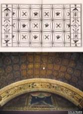 Lámina de la «Vestigia delle Terme di Tito», N.º 56, y detalle de una bóveda del Palacio de Godoy. Fuentes: arachne.uni-koeln.de y artedemadrid.wordpress.com