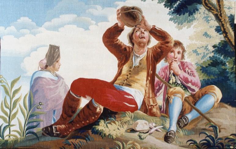 Real Fábrica de Tapices de Santa Bárbara (por cartón de Goya), El bebedor. Fuente: © Patrimonio Nacional