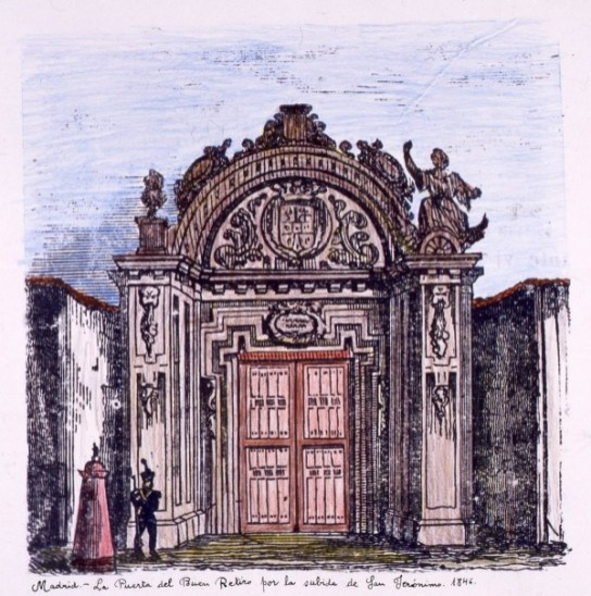 Jesús Evaristo Casariego, La puerta del Retiro por la subida a San Jerónimo, 1846. Madrid, Museo de Historia, nº inv. 18486.