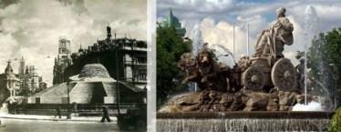 La Cibeles una vez terminadas las obras de defensa. Archivo Balbuena, Fototeca IPCE. / La fuente de Cibeles en la actualidad. Wikimedia Commons.