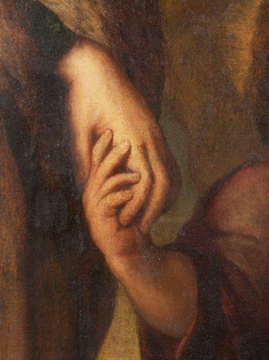 Imagen de las manos de la Virgen y el Niño Jesús antes de la restauración. Foto: Kik-Irpa.