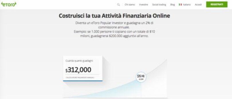 eToro Piattaforma Professionale Popular Investor