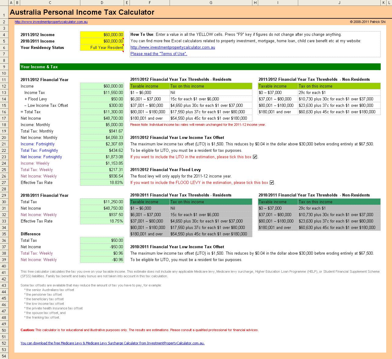 Free Australia Personal Income Tax Calculator In Excel