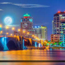 West Palm Beach Moon Set Over Skyline - REIT IPO