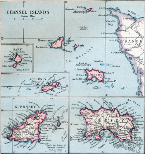 Jersey on a map of Channel Islands from 1907