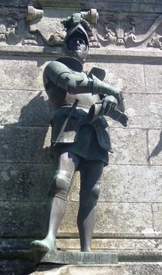 statue of Chevalier de Bayard in Sainte-Anne-d'Auray, Brittany - the offshore attraction