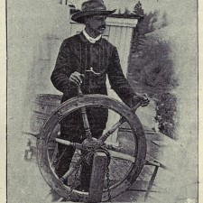 Self directed IRA Captain Frank P Armstrong at wheel of steamboat Duchess, 1887, near Golden BC
