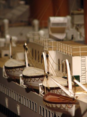 Arrangement of lifeboats for Expats on Titanic, as seen on a large-scale model of the ship