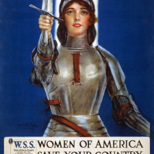 """Joan of Arc saved France--Women of America, save your country--Buy War Savings Stamps"" lithograph - taxes"