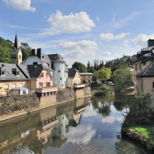 The river Alzette in Luxembourg Pfaffenthal, as seen from the bridge called Béinchen.