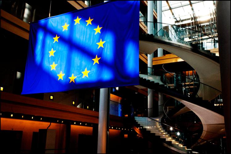 The European Union flag in the European Parliament in Strasbourg