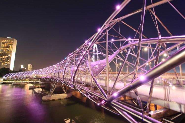 Bitcoin Banknotes - Helixbridge, Bridge, Lights, Night, Singapore