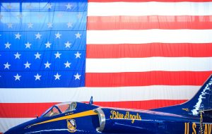 Flag of the United States of America and the Blue Angels
