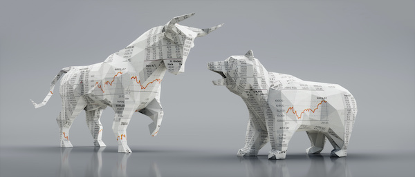 Different types of stocks: bull and bear paper mache