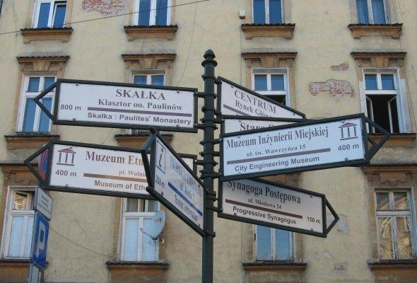 Viaggio a Cracovia, segnaletica ne quartiere ebraico di Kazimierz (Polonia)